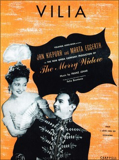 "Marta Eggerth och Jan Kiepura i ""The Merry Widow"" New York 1944. Bild från Zauber der Bohème. Filmarchiv Austria, Wien 2002. ISBN 3-901932-17-8."